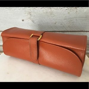 Handbags - Classy Camel Leather & Suede Travel Jewelry Bag